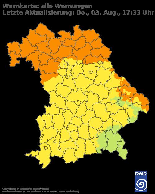 DWD Warnungen für Bayern